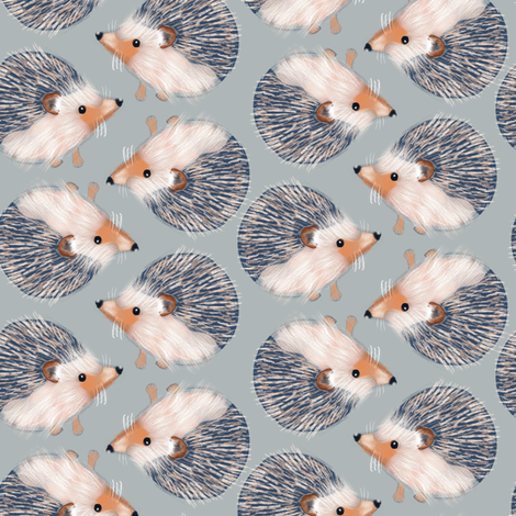 Hedgehog Pattern fabric by carolinacotoart on Spoonflower - custom fabric