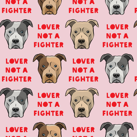 lover not a fighter - pit bull on pink (red text) fabric by littlearrowdesign on Spoonflower - custom fabric