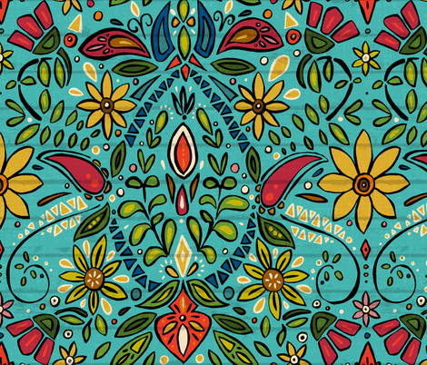 aziza turquoise fabric by scrummy on Spoonflower - custom fabric