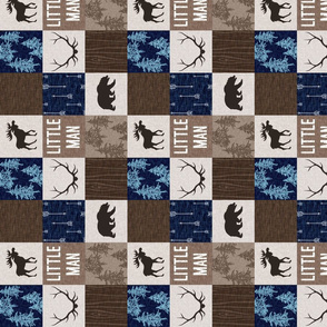"""2"""" Little Man Quilt - Navy and brown"""