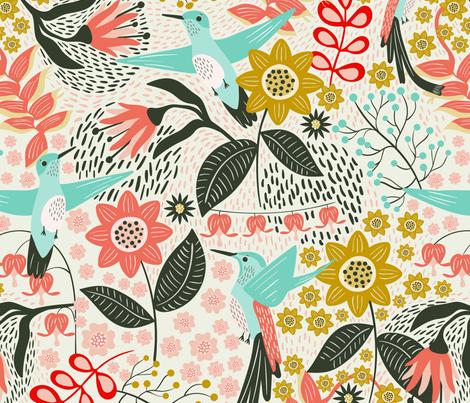 Hummingbird fabric by melarmstrongdesign on Spoonflower - custom fabric