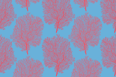 Fan Corals (carolina blue) fabric by helenpdesigns on Spoonflower - custom fabric