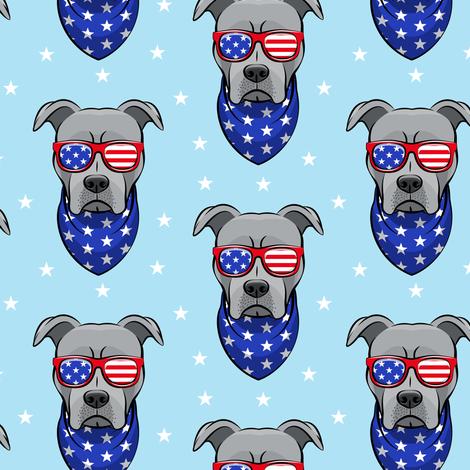 patriotic Pit Bull on blue fabric by littlearrowdesign on Spoonflower - custom fabric