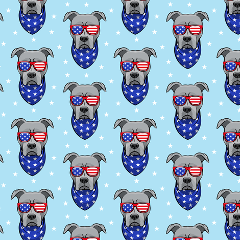 (small scale) patriotic Pit Bull on blue fabric by littlearrowdesign on Spoonflower - custom fabric