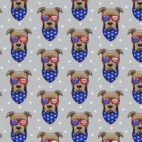 (small scale) patriotic Pit Bull on grey