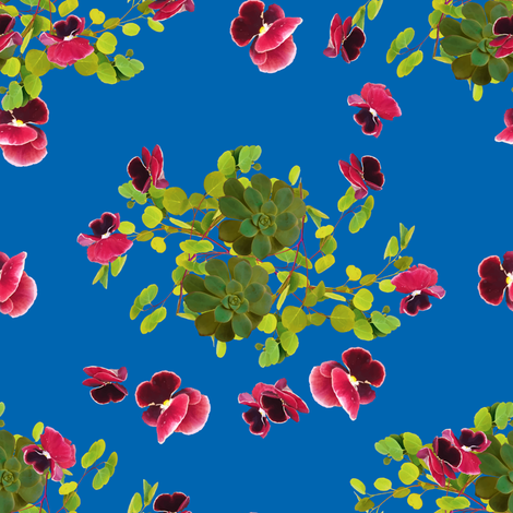 Cactus plants and flowers look like butterfly on bright blue background fabric by svetlankap on Spoonflower - custom fabric