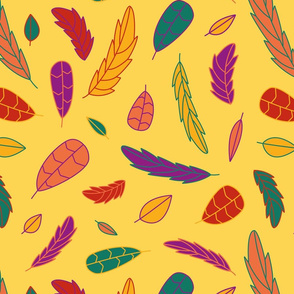 Funky Tribal Leaf and Feather Print