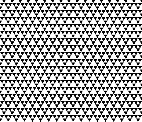 Triangles - white on black fabric by vivdesign on Spoonflower - custom fabric