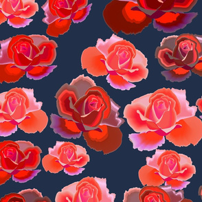 red roses on dark background-seamless  pattern