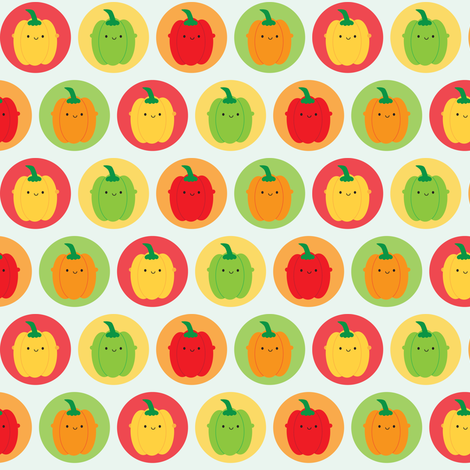 Kawaii Bell Peppers fabric by marcelinesmith on Spoonflower - custom fabric