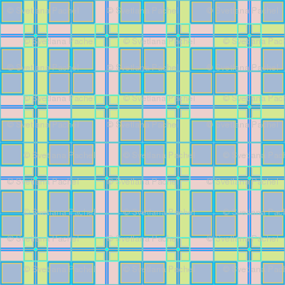 Criss-crossed horizontal and vertical bands in multiple colors