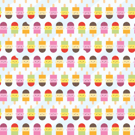 Kawaii Summer Ice Lollies / Popsicles fabric by marcelinesmith on Spoonflower - custom fabric