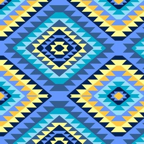 Kilim Diamond Blue Aqua Gold