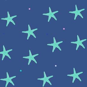 starfish on navy blue