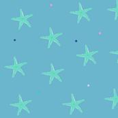 starfish on dusky blue//seaside starfish fabric