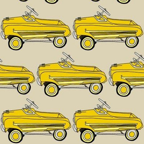 Yellow 1950's Child's Pedal Car on Parchment Tone Background
