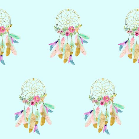 "4"" Baby Mermaid Dreamcatcher - Light Aqua fabric by shopcabin on Spoonflower - custom fabric"