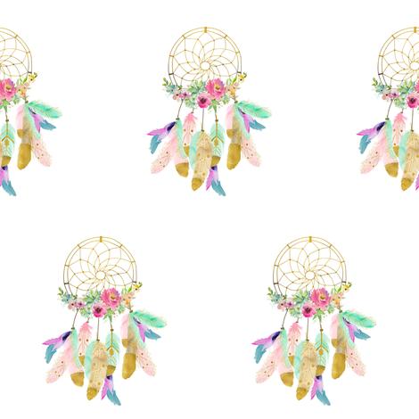 "4"" Baby Mermaid Dreamcatcher - White fabric by shopcabin on Spoonflower - custom fabric"
