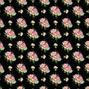 """1.5"""" Pink and Green Florals - Black with Polka Dots"""