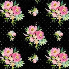 """4"""" Pink and Green Florals - Black with Polka Dots"""