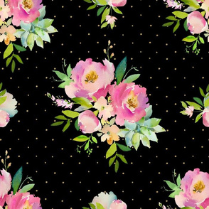 """14"""" Pink and Green Florals - Black with Polka Dots"""