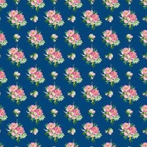 "1.5"" Pink and Green Florals - Dark Blue"
