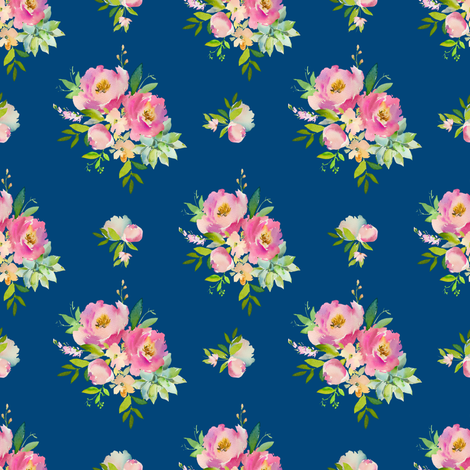 """4"""" Pink and Green Florals - Dark Blue fabric by shopcabin on Spoonflower - custom fabric"""