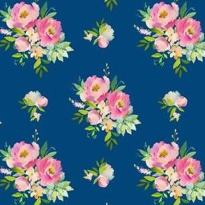 "4"" Pink and Green Florals - Dark Blue"