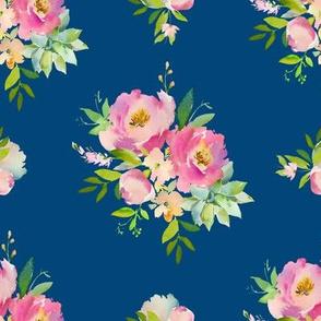 "8"" Pink and Green Florals - Dark Blue"