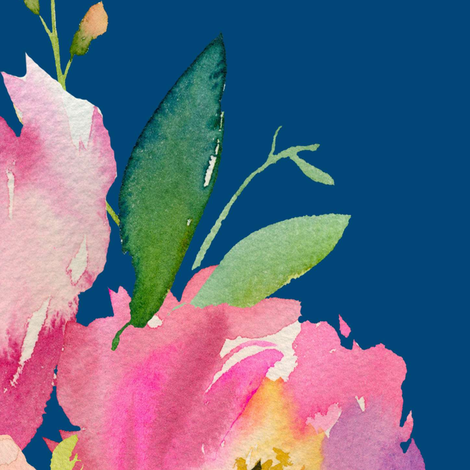 """36"""" Pink and Green Florals - Dark Blue fabric by shopcabin on Spoonflower - custom fabric"""