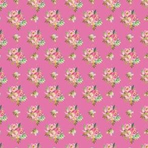 "1.5"" Pink and Green Florals - Dark Pink"