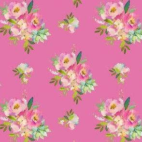 "4"" Pink and Green Florals - Dark Pink"