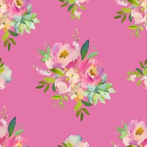 "8"" Pink and Green Florals - Dark Pink"