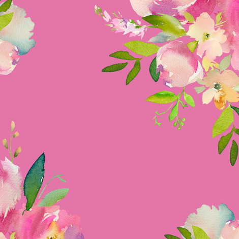 """14"""" Pink and Green Florals - Dark Pink fabric by shopcabin on Spoonflower - custom fabric"""