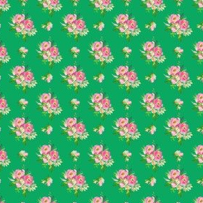 """1.5"""" Pink and Green Florals - Green"""