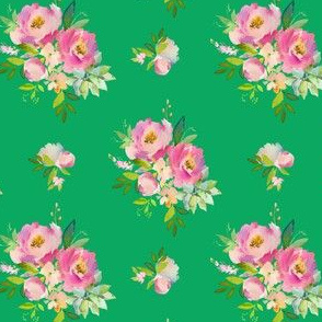 """4"""" Pink and Green Florals - Green"""