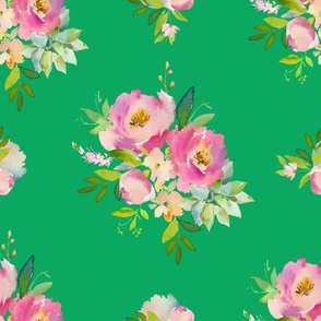 """8"""" Pink and Green Florals - Green"""
