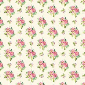 """1.5"""" Pink and Green Florals - Ivory"""