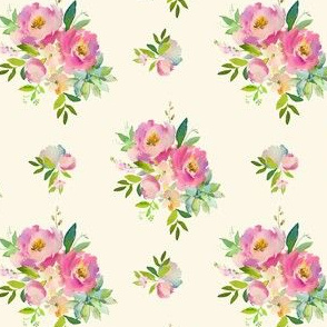"""4"""" Pink and Green Florals - Ivory"""