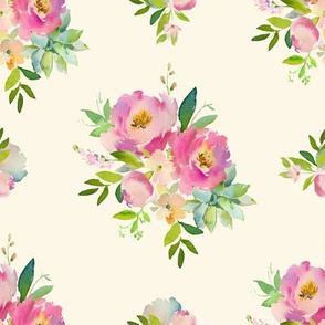 """8"""" Pink and Green Florals - Ivory"""