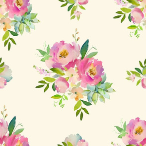 """14"""" Pink and Green Florals - Ivory"""