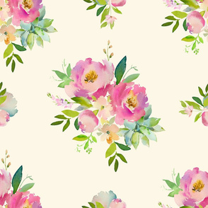 """21"""" Pink and Green Florals - Ivory"""