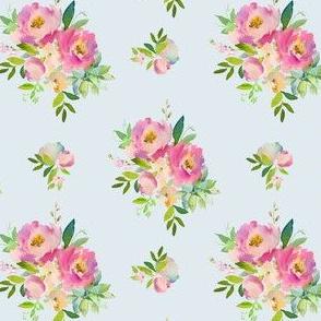 "4"" Pink and Green Florals - Light Blue"