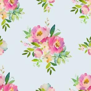 "8"" Pink and Green Florals - Light Blue"