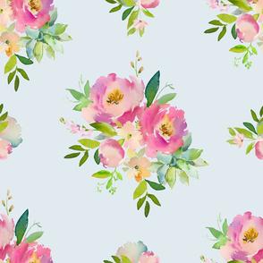 "21"" Pink and Green Florals - Light Blue"