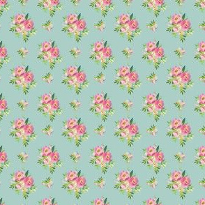 """1.5"""" Pink and Green Florals - Muted Teal"""