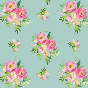 """4"""" Pink and Green Florals - Muted Teal"""