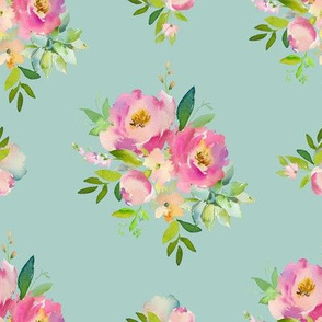 """8"""" Pink and Green Florals - Muted Teal"""