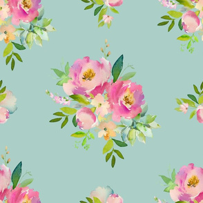 """14"""" Pink and Green Florals - Muted Teal"""