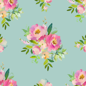 """21"""" Pink and Green Florals - Muted Teal"""